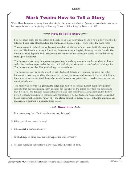 How to Tell a Story - Mark Twain Reading Activity
