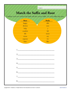 Match the Suffix and Root Worksheet Activity