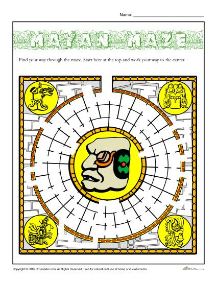 Hispanic Heritage Month - Mayan Maze Activity