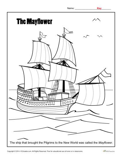 Thanksgiving Activity - Mayflower Coloring Page