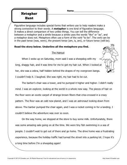 Metaphor Hunt Worksheet - Figurative Language Worksheets