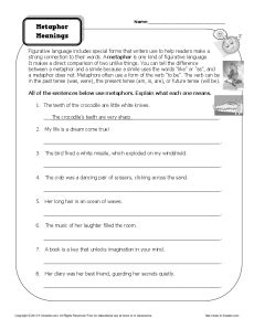 Worksheet - Metaphor Meanings