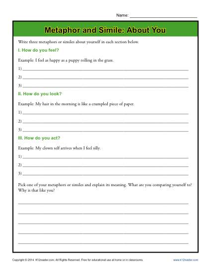 Metaphor and Simile - About You -Free, Printable Worksheet Lesson Activity