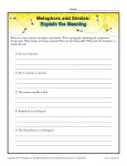 Metaphors and Similes - Explain the meaning - Free, Printable Worksheet Lesson Activity