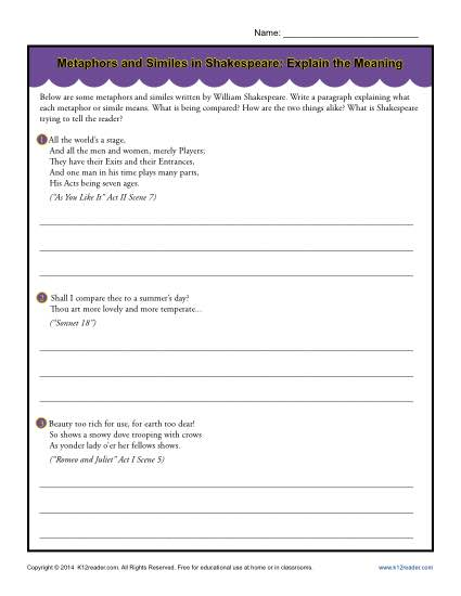 Metaphors and Similes in Shakespeare - Free, Printable Worksheet Activity