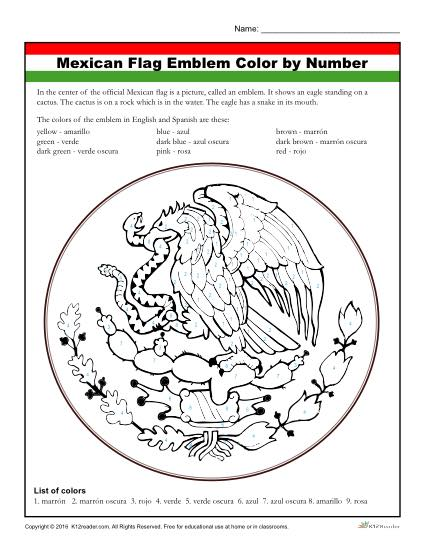 Mexican Flag Emblem -Color by Number Activity