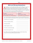 Mild and Strong Interjections - Worksheet Practice Activity