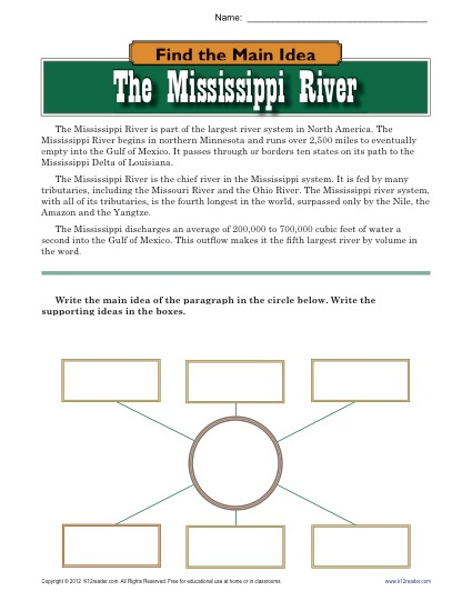High School Main Idea Worksheet About The Mississippi River