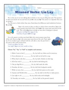 Misused Verbs Printable Activity - Lie and Lay