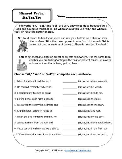 Misused Verbs Sit Sat Set Verb Worksheets
