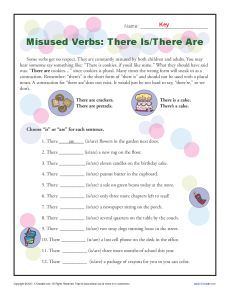 Misused Verbs Printable Activity - There Is/There Are