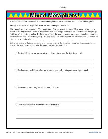 Mixed Metaphors - Free, Printable Worksheet Lesson Activity