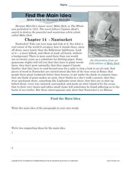 Moby Dick Main Idea on inferences worksheets for 2nd grade