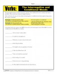 Verb Practice Worksheet - Interrogative and Conditional Moods
