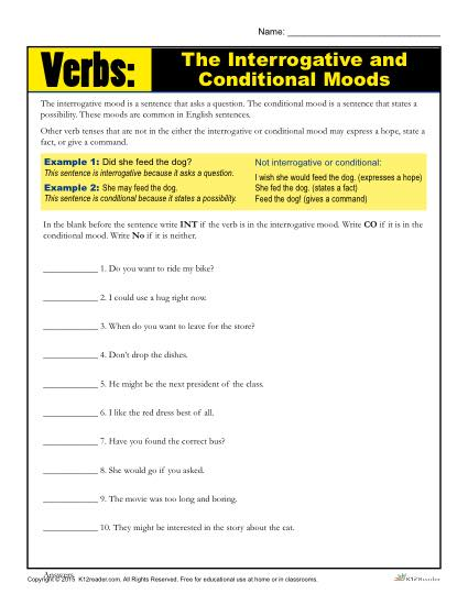 the interrogative and conditional mood verb worksheet. Black Bedroom Furniture Sets. Home Design Ideas