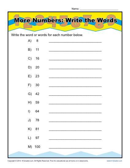 Spelling – Numbers in Words / FREE Printable Worksheets – Worksheetfun