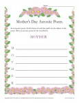 Mothers Day Acrostic Poem Activity