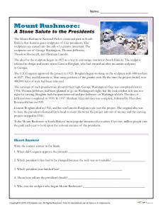 Mount Rushmore Reading Comprehension Activity