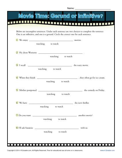 Worksheet Activity - Movie Time: Gerund or Infinitive