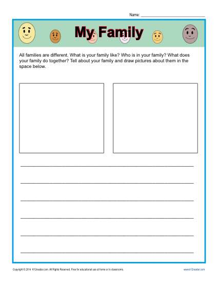 Free printable Kindergarten writing prompt - My Family