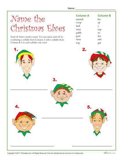 Printable Christmas Activity - Name the Christmas Elves!