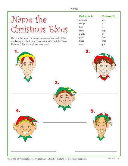 Printable Christmas Activity - Name the Christmas Elves!