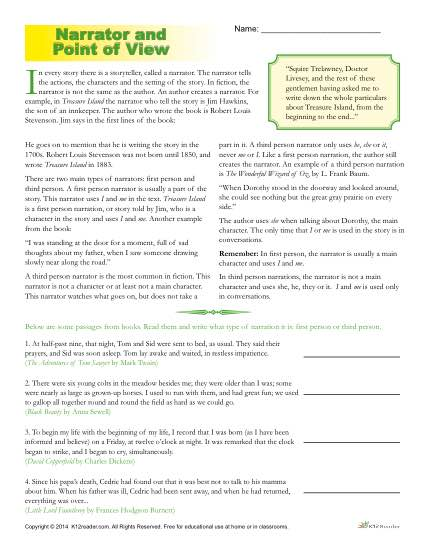 Printable Narrator and Point of View Worksheet