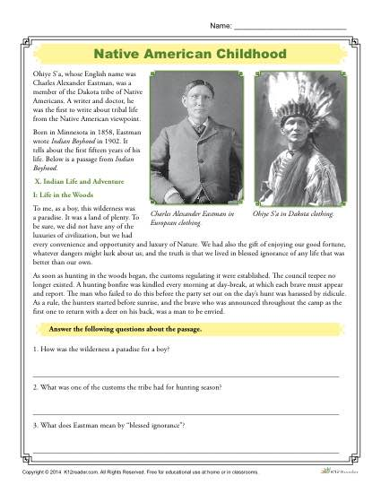 Native American Worksheets - Childhood