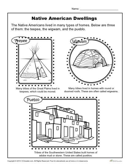 Native American Activity - Dwelling Place Coloring Page