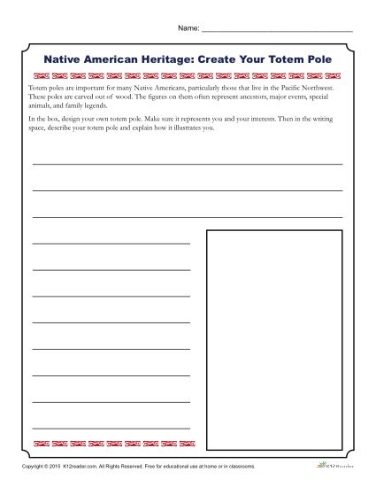 Native American Heritage Month Printable Activity - Create your Totem Pole