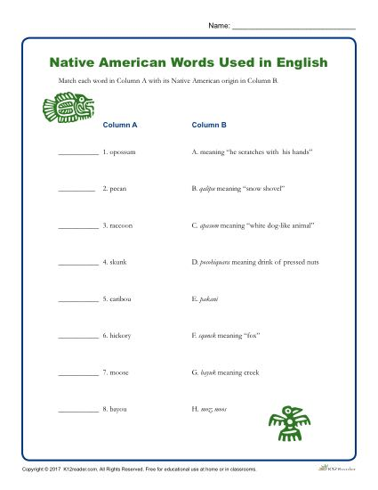 Native American Heritage Month Printable Activity - Words Used in English