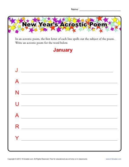 New Years Acrostic Poem