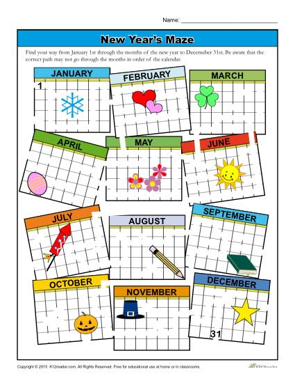 New Year's Calendar Maze Activity