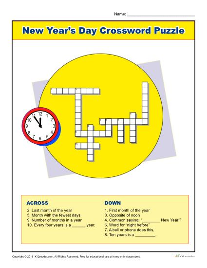 New Year's Day Crossword Puzzle Worksheet Activity for Kids