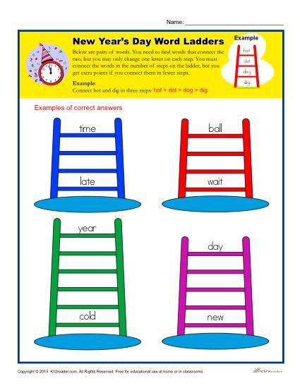 New Year's Day Worksheet Activity - Word Ladders!