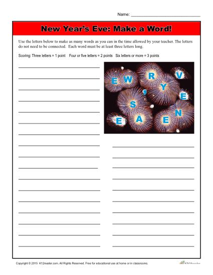 New Year's Worksheet Activity - Make a Word!