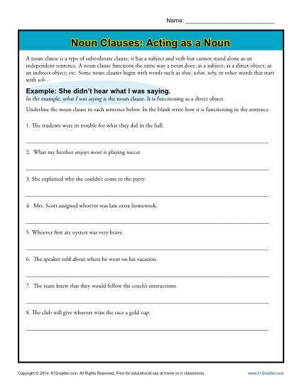 Noun Clauses Worksheet Activity - Acting as a Noun