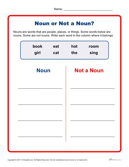 Noun or Not a Noun? - Kindergarten and 1st Grade Worksheet