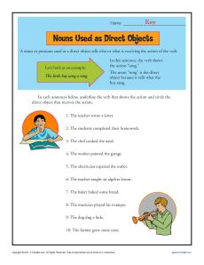 nouns as direct objects worksheet. Black Bedroom Furniture Sets. Home Design Ideas