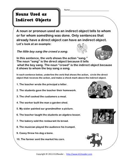 Nouns as Indirect Objects | 3rd Grade Noun Worksheet