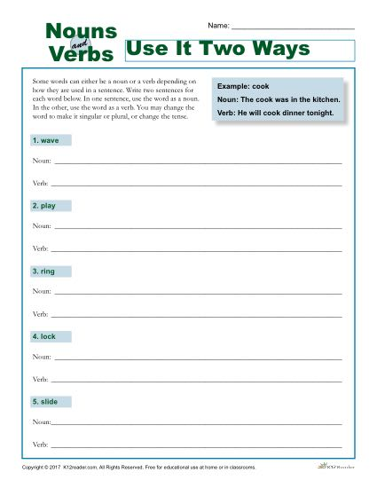Nouns and Verbs: Use it Two Ways - Worksheet Activity