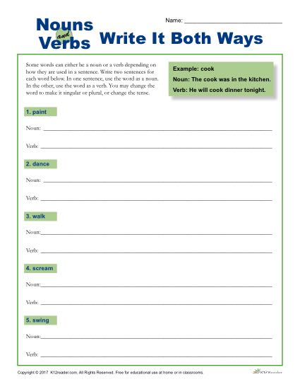 Nouns and Verbs - Write It Both Ways - Worksheet Activity