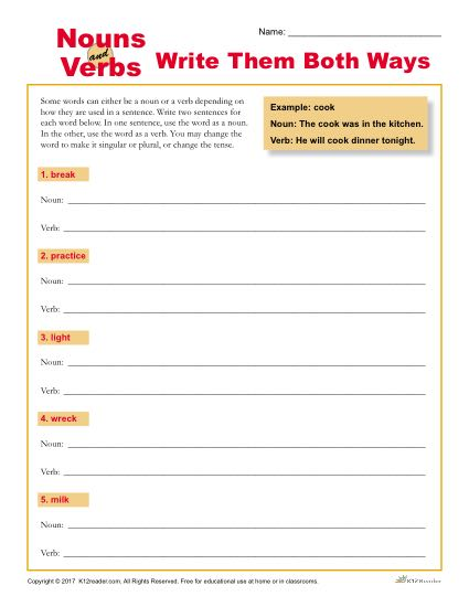 Nouns and Verbs - Write Them Both Ways - Worksheet Activity