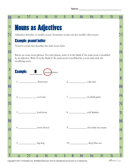 Nouns as Adjectives | Printable 3rd-4th Grade Nouns Activity