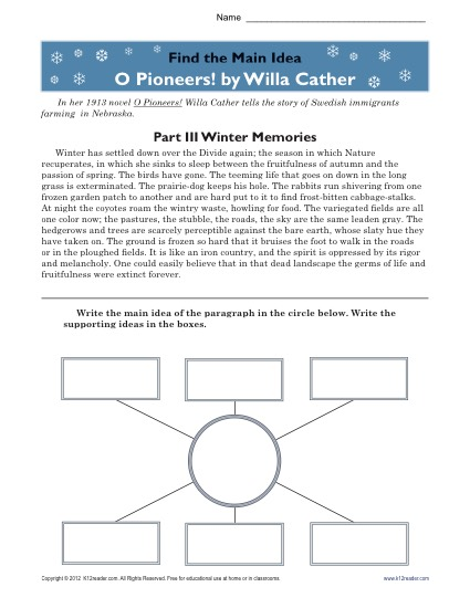 High School Main Idea Worksheet About O Pioneers