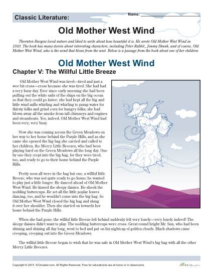 Old Mother West Wind - Printable Reading Comprehension Set
