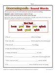 Onomatopoeia Sound Words - Free, Printable Worksheet Lesson Activity