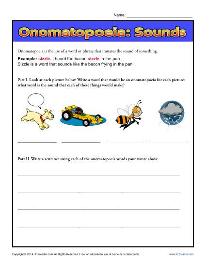 Onomatopoeia Sounds - Free, Printable Worksheet Lesson Activity