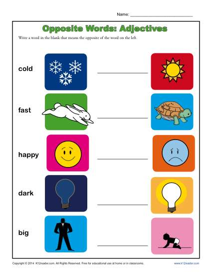 Kindergarten Antonym Worksheet - Opposite Words: Adjectives