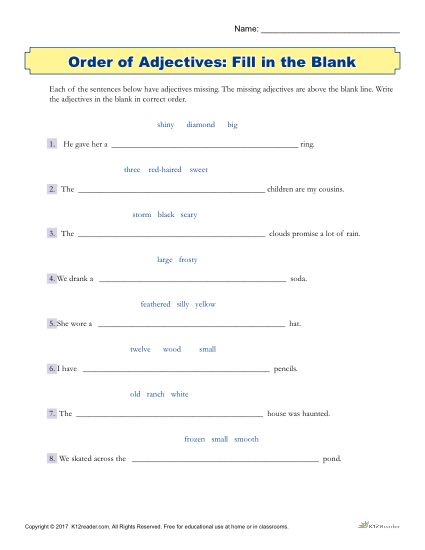 Fill in the Blank | Printable 3rd - 5th Grade Adjectives Worksheet